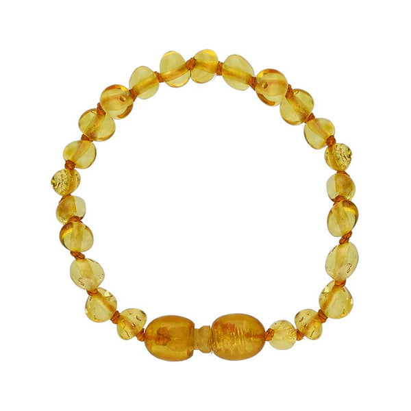 Baltic Amber Small Light Beaded Baby Teething Bracelet. B1115