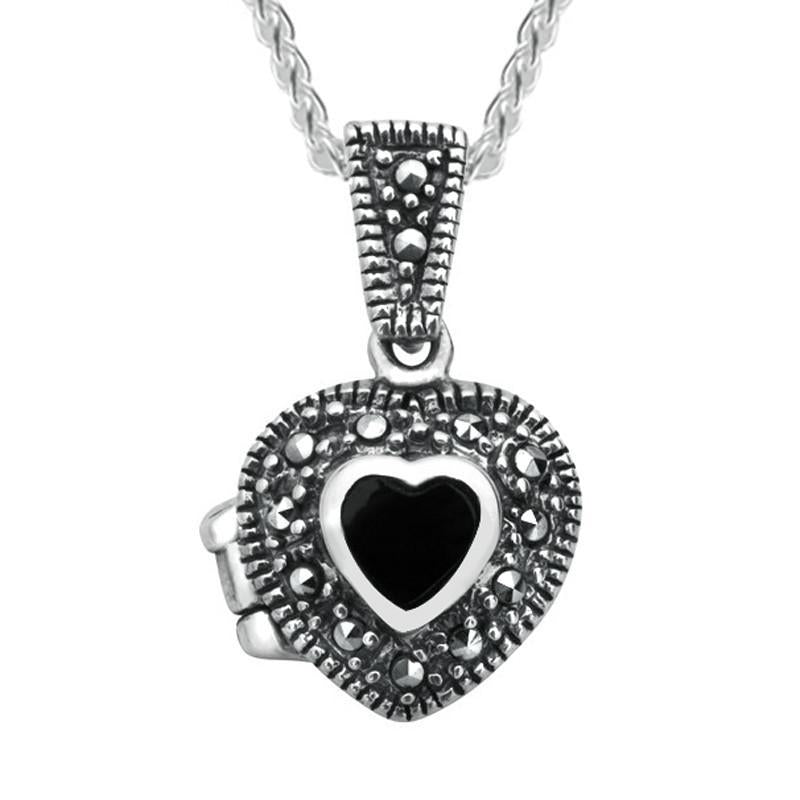 Sterling Silver Whitby Jet Marcasite Small Bead Edge Heart Locket. P2147