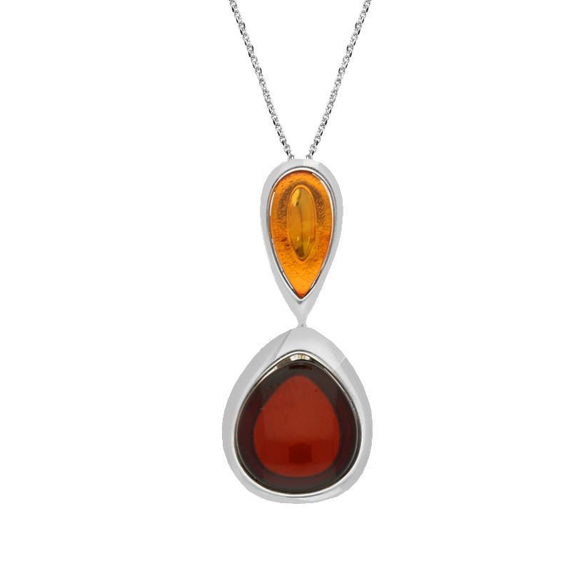 Sterling Silver Amber Double Pearl Necklace , P2918