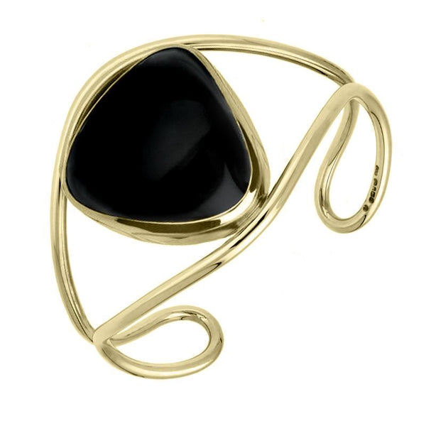 9ct Yellow Gold Whitby Jet Bangle Cuff, B792.
