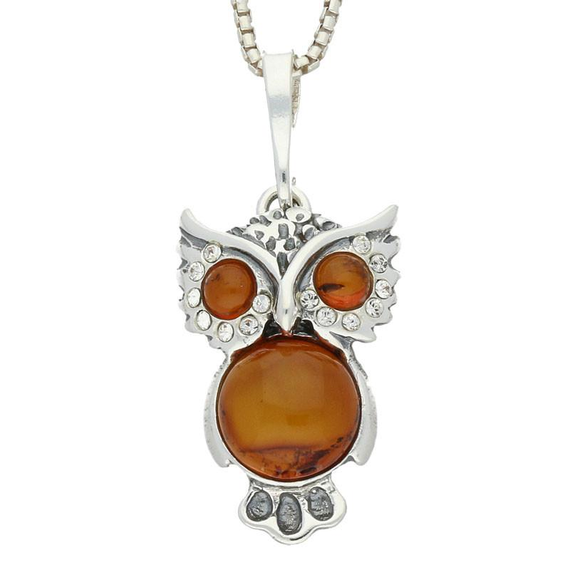 Sterling Silver Amber Cubic Zirconia Medium Owl Necklace P2490