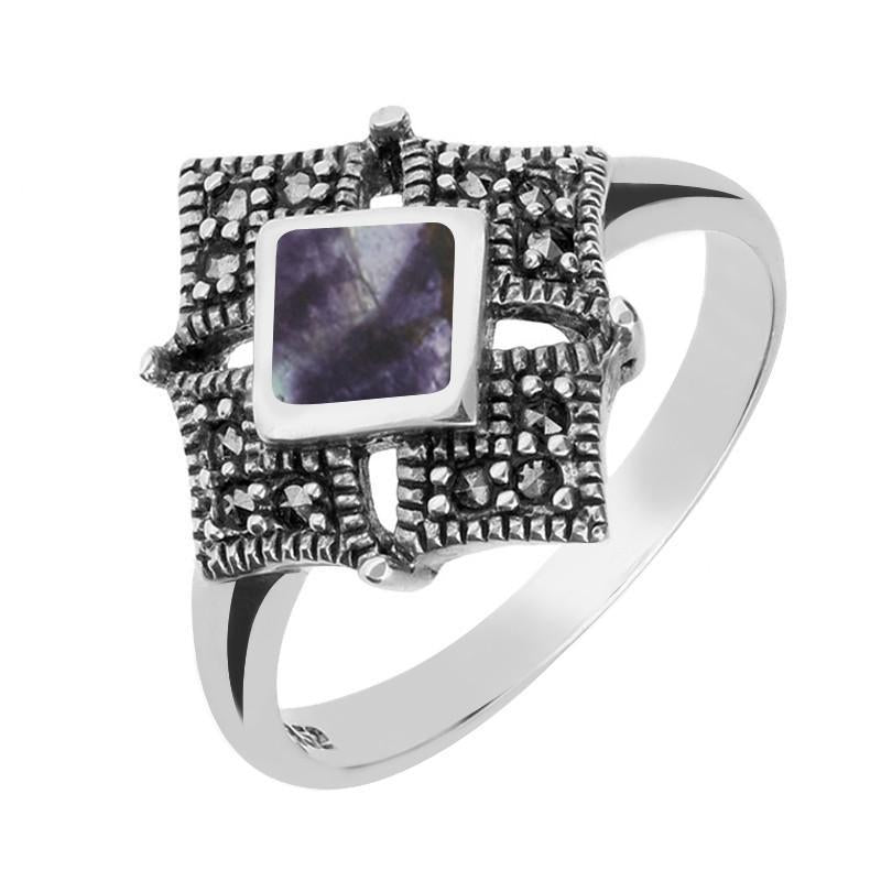 Silver Blue John Marcasite Square Ring R751