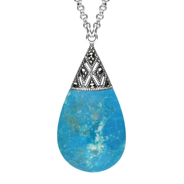 Sterling Silver Turquoise Marcasite Capped Pear Drop Necklace. N944. 00114476.