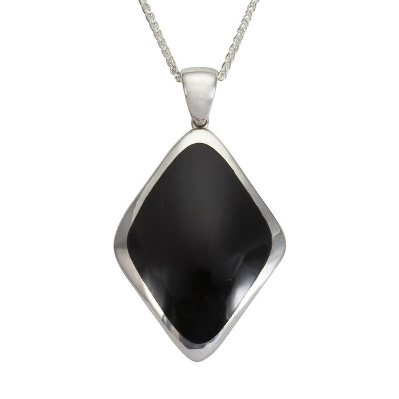 Sterling Silver Whitby Jet Abstract Rhombus Necklace P1748