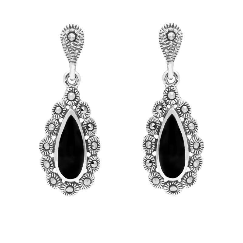 Silver Whitby Jet Marcasite Pear Centre Round Bead Earrings E1643