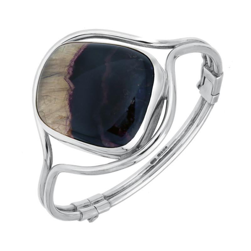 Sterling Silver Blue John Unique Style Hinged Bangle. B791.