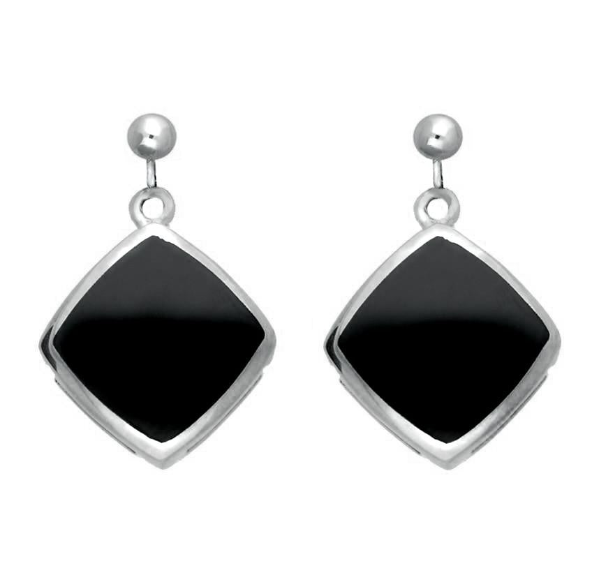 Sterling Silver Whitby Jet Cushion Square Drop Earrings E1035