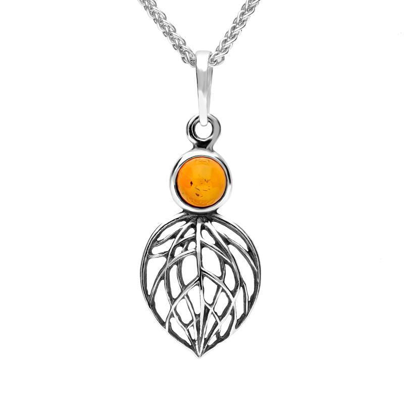 Sterling Silver Amber Abstract Leaf Necklace. P3173