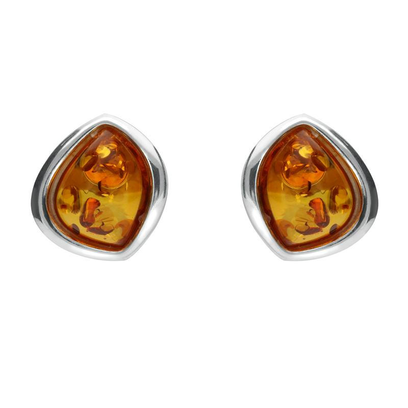 Sterling Silver Amber Abstract Marquise Stud Earrings. E2039.