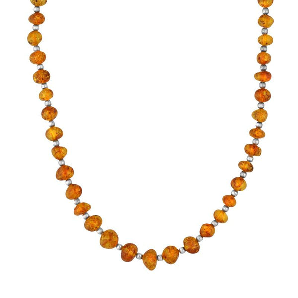 Sterling Silver Amber Beaded Necklace N221