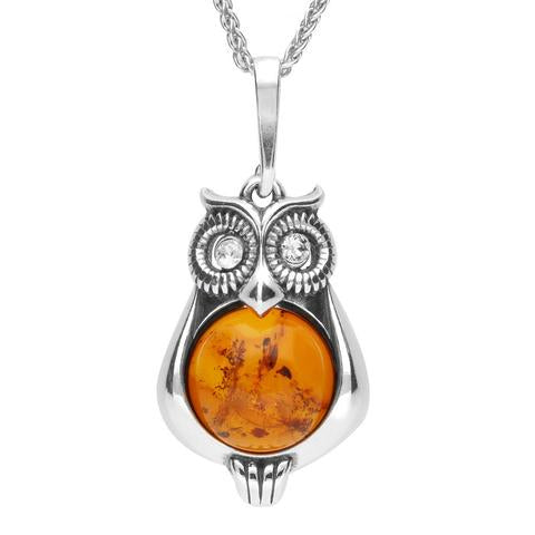 Sterling Silver Amber Cubic Zirconia Owl Necklace, P3154.