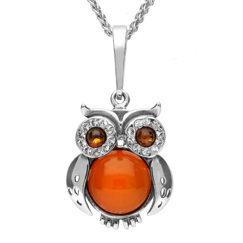 Sterling Silver Amber Cubic Zirconia Owl Necklace, P3153.