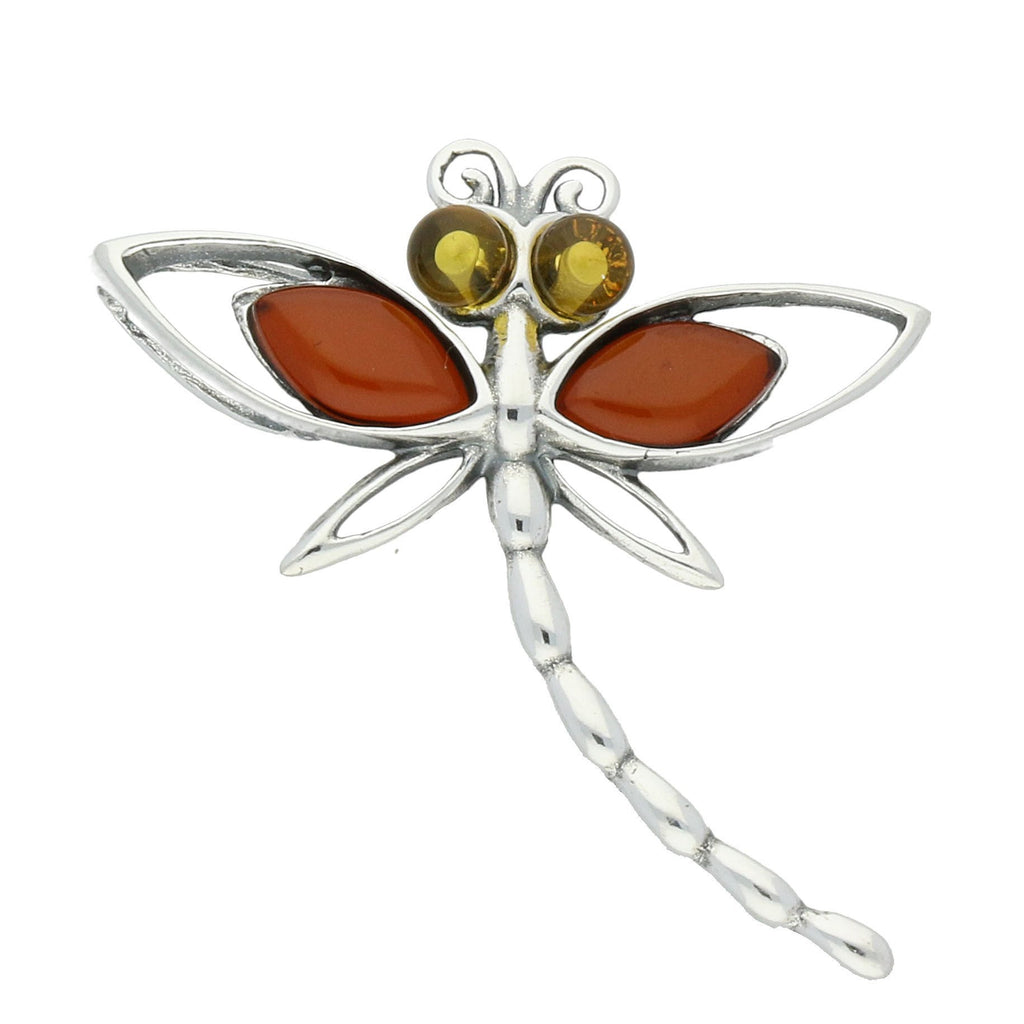 Sterling Silver Amber Dragonfly Small Necklace, P2487.