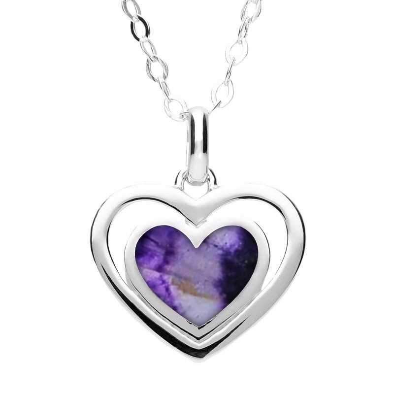 Sterling Silver Blue John Heart In Heart Necklace. P3007.