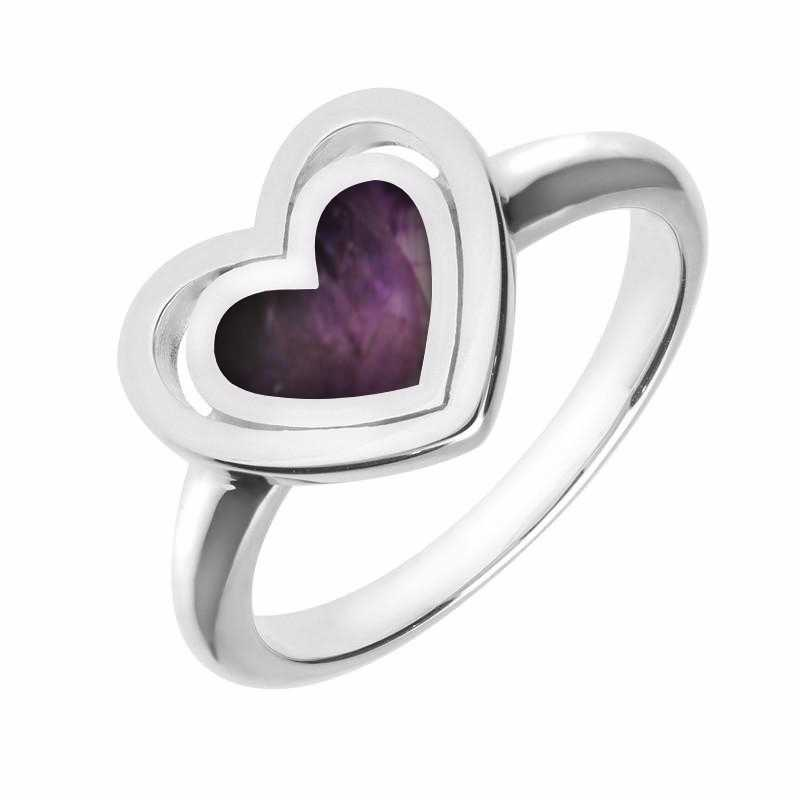 Sterling Silver Blue John Heart in Heart Ring R1044