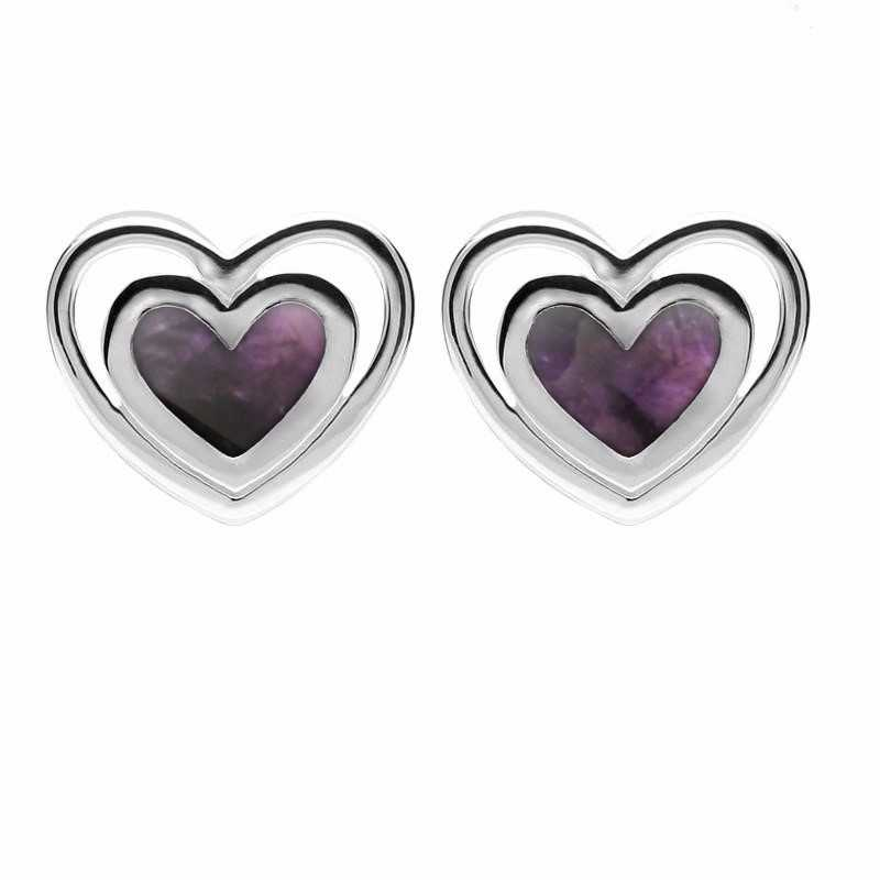 Sterling Silver Blue John Heart in Heart Stud Earrings E2260