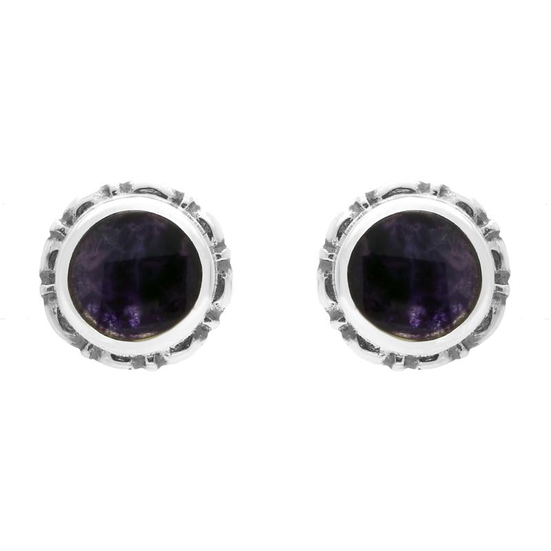 Sterling Silver Blue John Heritage Round Small Stud Earrings. E002.