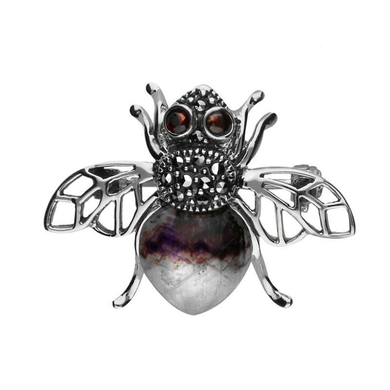 Sterling Silver Blue John Marcasite Garnet House Style Honey Bee Brooch. M333.