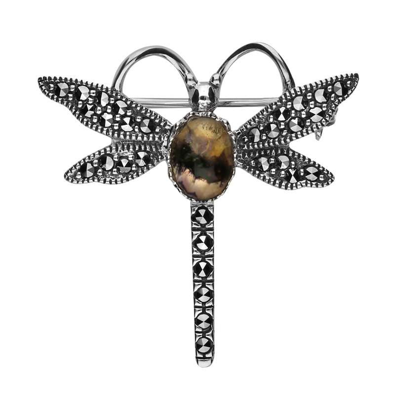 Sterling Silver Blue John Marcasite House Style Dragonfly Brooch. M328.