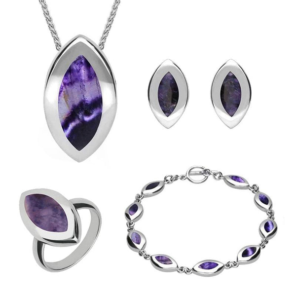 Sterling Silver Blue John Marquise Four Piece Set. S007