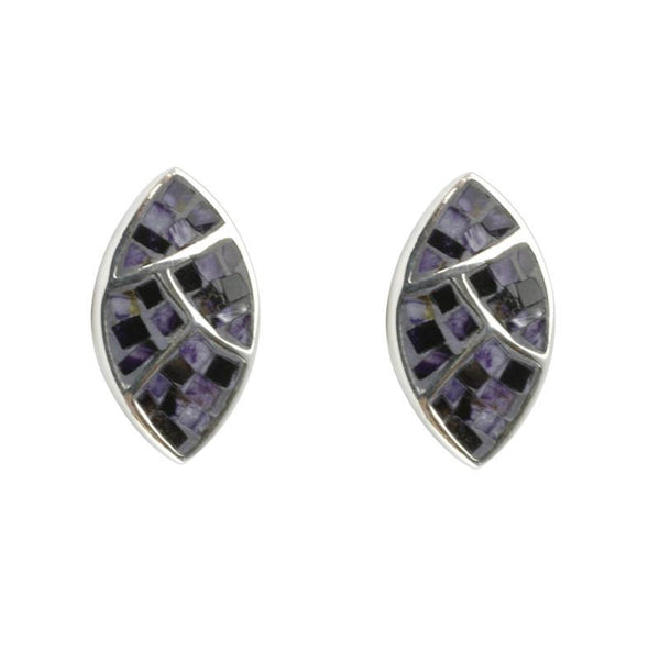 Sterling Silver Blue John Mosaic Stud Earrings, E807.