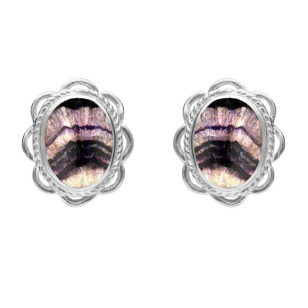 Sterling Silver Blue John Oval Frill Stud Earrings, E009.