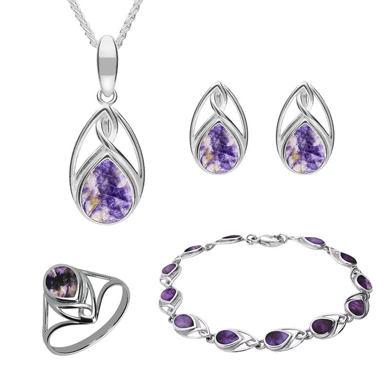 Sterling Silver Blue John Pear Shaped Celtic Four Piece Set. S001