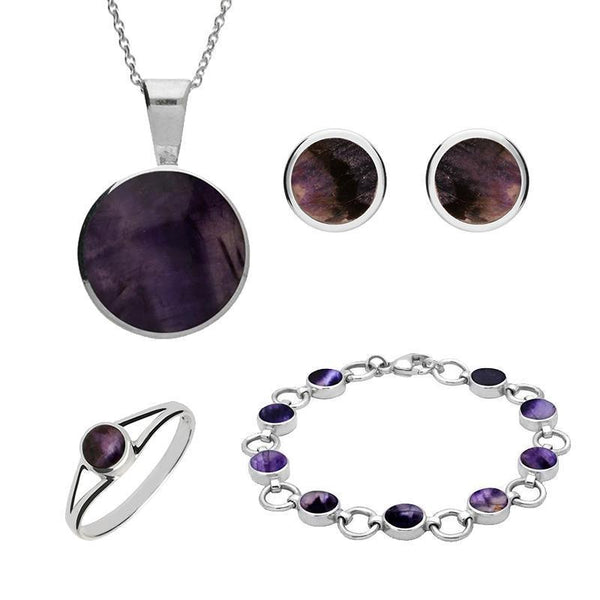 Sterling Silver Blue John Round Four Piece Set. S004