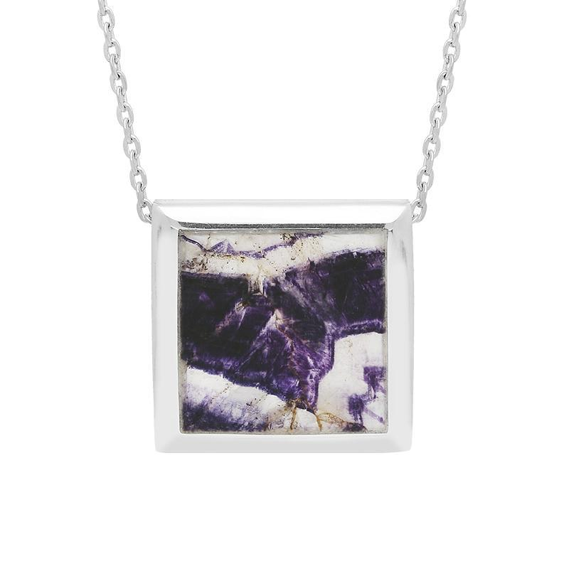 Sterling Silver Blue John Square Framed Necklace, P1148.
