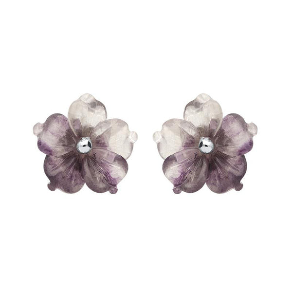 Sterling Silver Blue John Tuberose Carnation Large Stud Earrings, E2406.