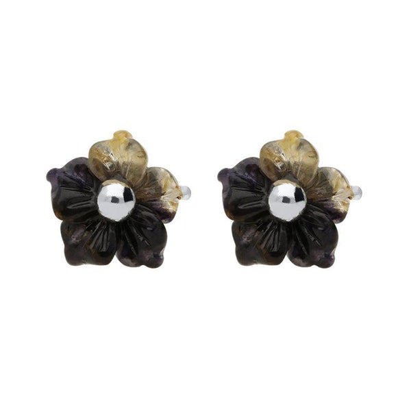 Sterling Silver Blue John Tuberose Carnation Stud Earrings, E2158.