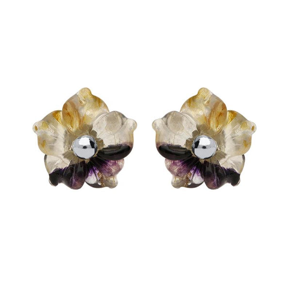 Sterling Silver Blue John Tuberose Carnation Stud Earrings, E2162.