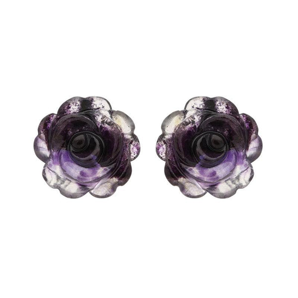 Sterling Silver Blue John Tuberose Rose Large Stud Earrings, E2408.