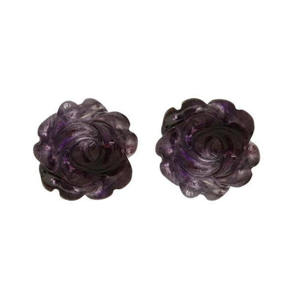 Sterling Silver Blue John Tuberose Rose Stud Earrings, E2407.