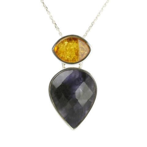Sterling Silver Blue John and Amber Necklace, PUNQ0000511.