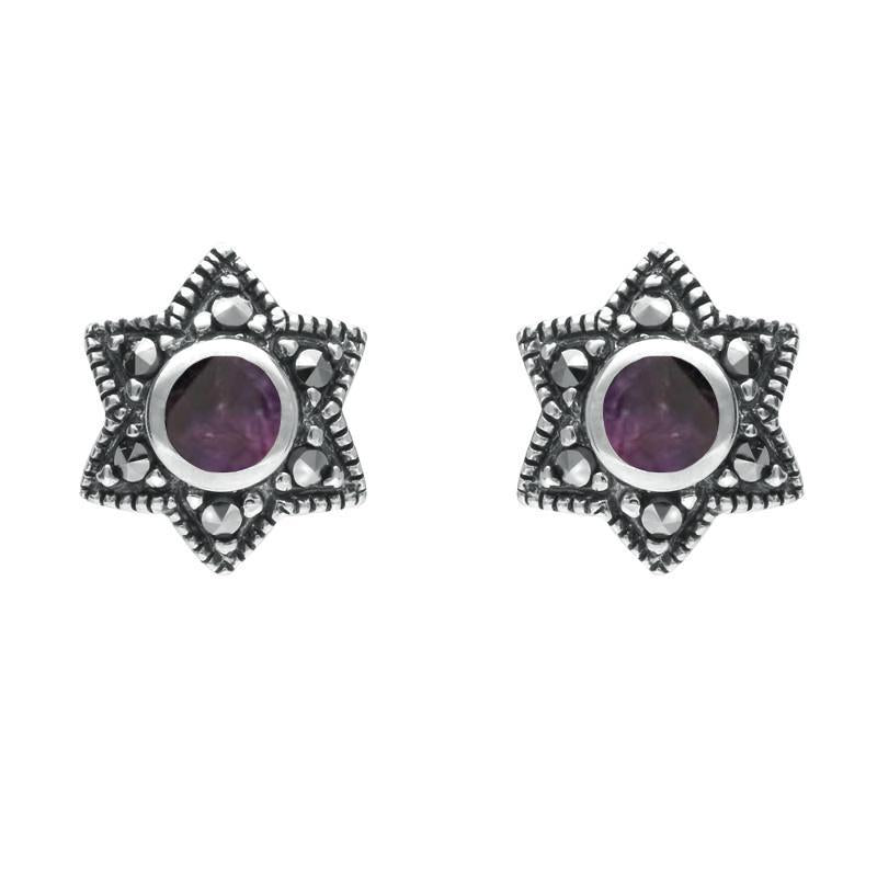 Sterling Silver Blue John and Marcasite Six Point Star Stud Earrings - Blue John Gallery
