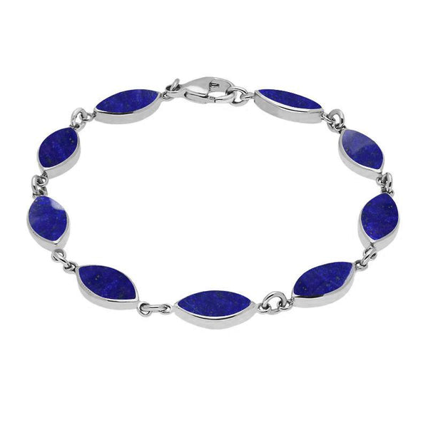 Sterling Silver Lapis Lazuli Marquise Bracelet. B184.