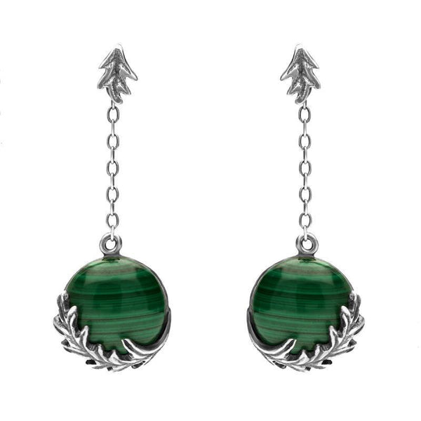 Sterling Silver Malachite Acanthus Leaf Round Chain Drop Earrings. e1583.