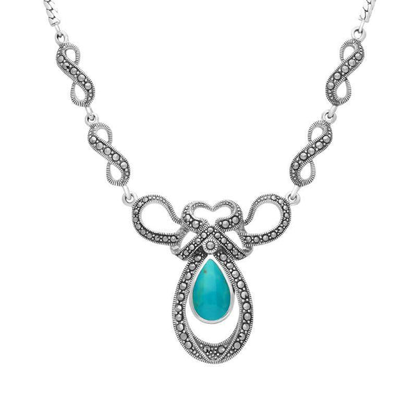 Sterling Silver Turquoise Marcasite Drop Bow Twist Necklace