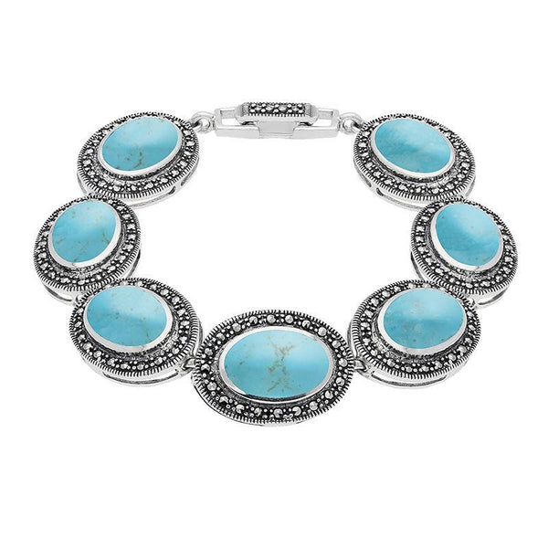Turquoise Bracelet Seven Stone Oval Marcasite Silver B877