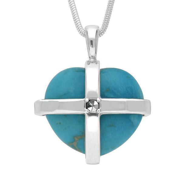 Sterling Silver Turquoise Marcasite Large Cross Heart Necklace, P2262.