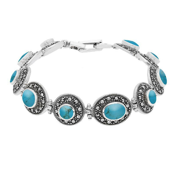 Sterling Silver Turquoise Marcasite Oval And Round Link Bracelet. B875.