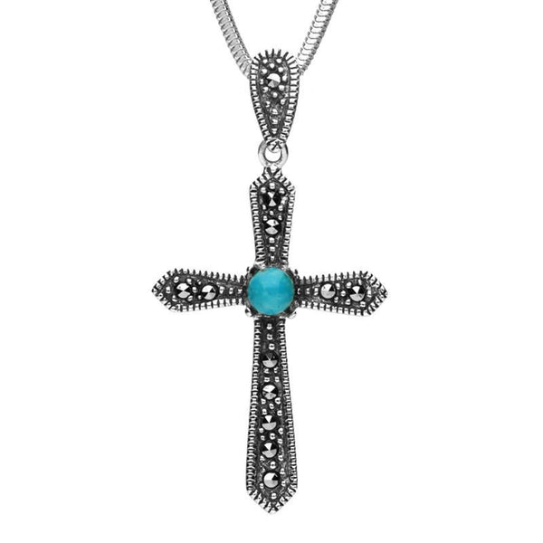Sterling Silver Turquoise Marcasite Pointed Cross Necklace, P2124.