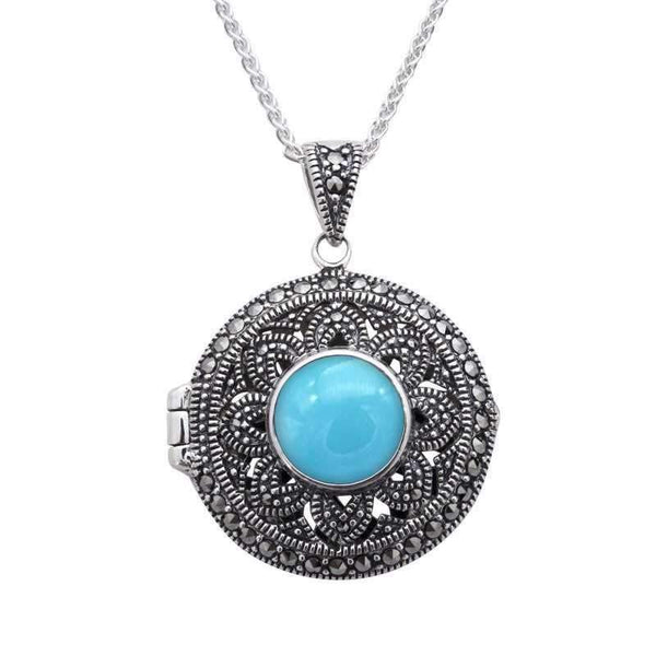 Sterling Silver Turquoise Marcasite Round Floral Locket Necklace. P2150.