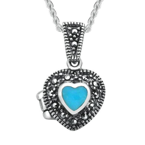 Sterling Silver Turquoise Marcasite Small Bead Edge Heart Locket, P2147.