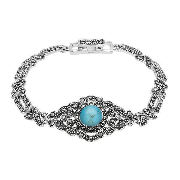 Sterling Silver Turquoise Marcasite Tappered Bracelet, B880.