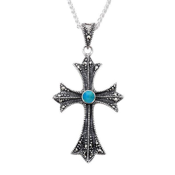 Sterling Silver Turquoise Marcasite Three Point Cross Necklace, P2115.
