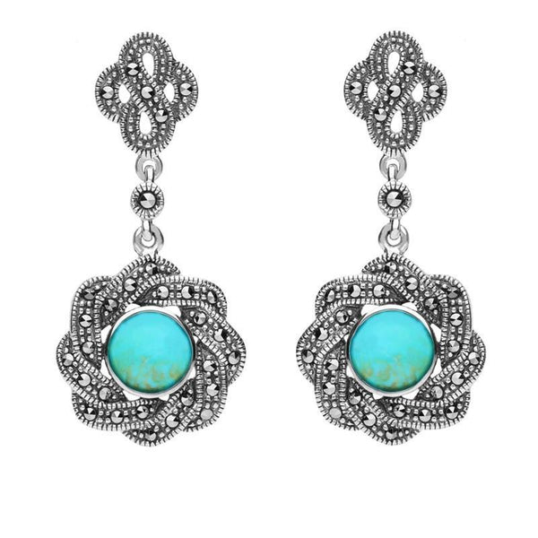 Sterling Silver Turquoise Marcasite Overlap Ribbon Drop Earrings E1786