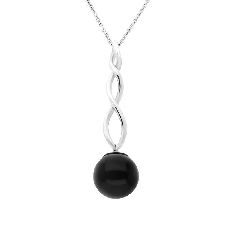 Sterling Silver Whitby Jet 10mm Bead Twist Necklace. p1930.