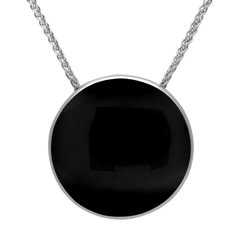 Sterling Silver Whitby Jet 25mm Round Necklace P1895